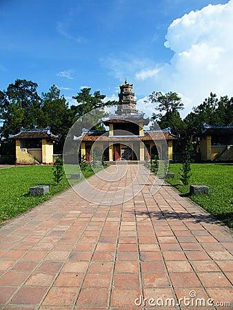 Temple at Perfume river in Hue, Vietnam