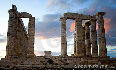 Temple of Poseidon on Sounion cape in Greece