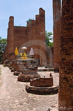 Temple ruin with Buddha in Ayuttaya, Thailand