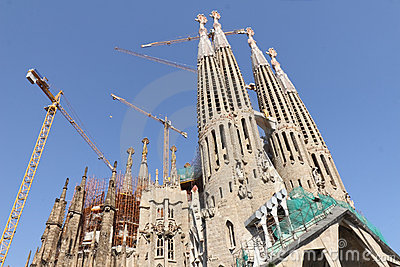 Temple Sagrada Familia- of Gaudi  in Barcelona. Sp