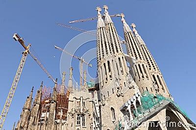 Temple Sagrada Familia- of Gaudi  in Barcelona. Sp