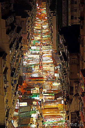 Temple Street with many booths in Hong Kong Editorial Stock Photo