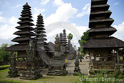 Temple with typical pointed roofs in Bali
