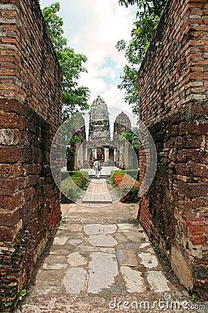 Temple walls Sukhothai historic park thailand