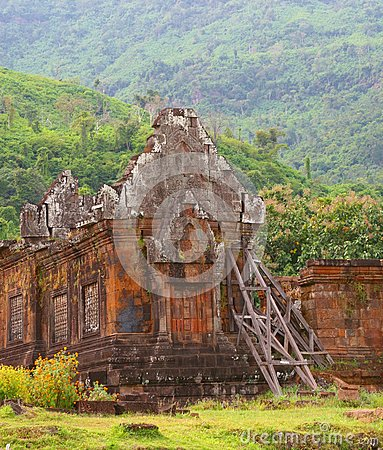 Ancient Khmer temple Wat Phu in the jungle,Laos