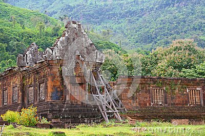 Buddhist temple ruins Wat Phu Angkor in the jungle, Champasak, Laos
