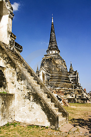 Temples and pagodas of ayutthaia in thailand