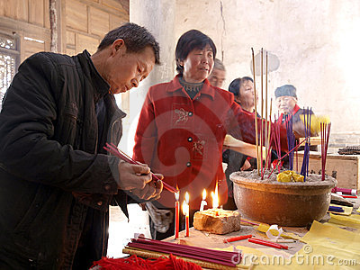 In temples of the people they burn incense Editorial Stock Photo