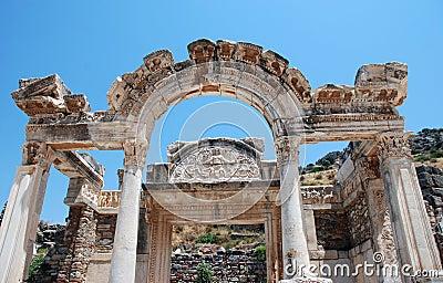 Templo de Hadrian, Ephesus, Turquía,