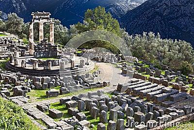 Templo do grego clássico de Athina em Delphi