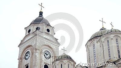 Templo ortodoxo, abóbada com cruzes video estoque