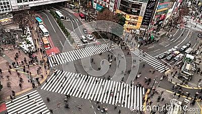tempo-lapso da opinião aérea de 4K UHD do cruzamento de zebra de Shibuya com transporte aglomerado do tráfego dos povos e de carr filme