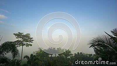 Temps écoulé, de nombreux cumulus flottent au-dessus du brouillard Bruant matinal banque de vidéos