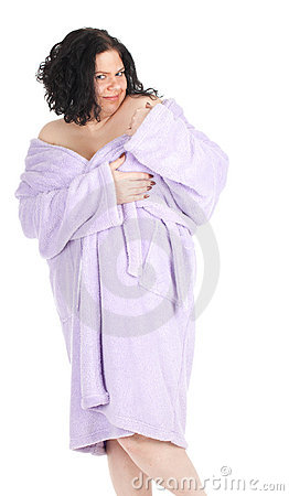Temptation -  fat woman in bathrobe