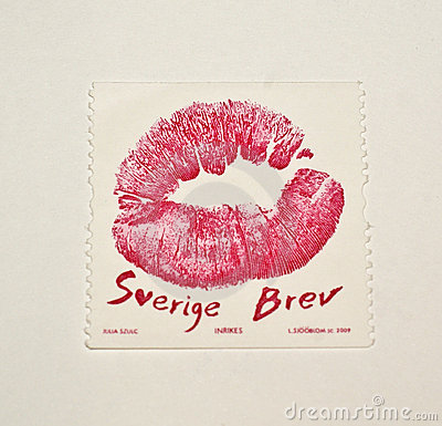 A tempting kiss on a Swedish Stamp Editorial Stock Image