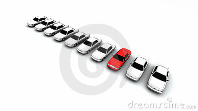 Ten Cars, One Red!