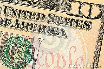 Ten dollar bill closeup