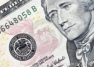 Ten dollar bill focus on federal reserve seal