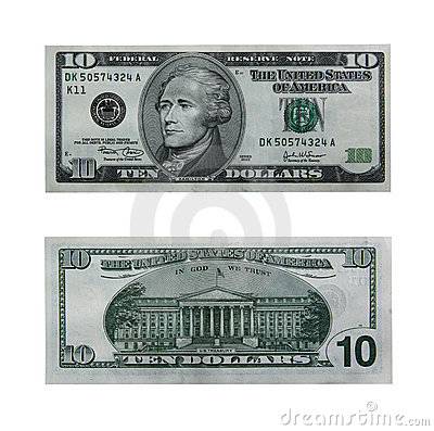 Free Ten Dollar Bill With Path Stock Photography - 642892