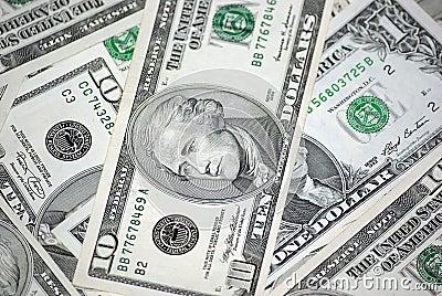 Ten dollars banknote close-up.