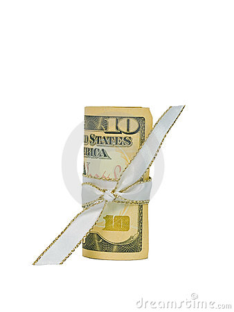 Ten Dollars in Cash Rolled with a Ribbon