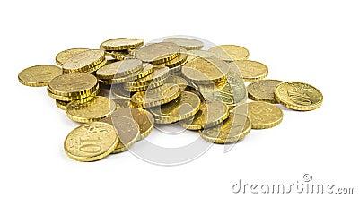 Ten euro cents pile