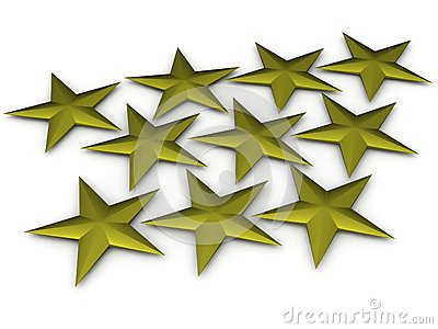 Ten Golden Texas Stars on  background