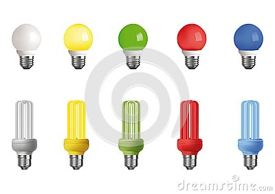 Ten multi-colored lamps
