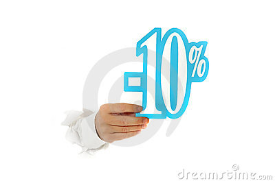 Ten percent discount sign, hand.