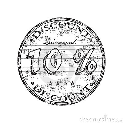 Ten percent discount stamp