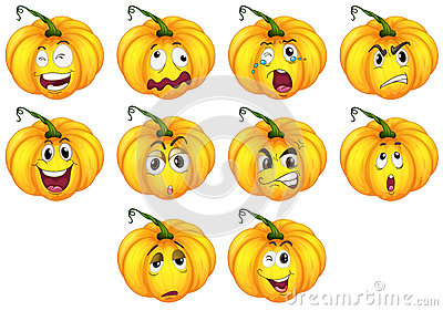 Ten pumpkins with different emotions