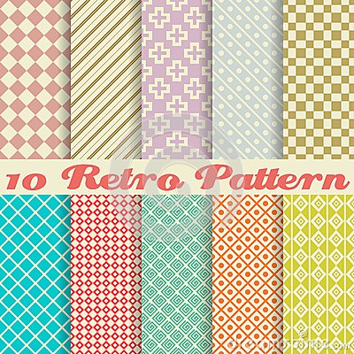 Free Ten Retro Different Vector Seamless Patterns Royalty Free Stock Photo - 32499355