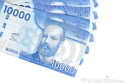 Ten Thousand Chilean Peso Bills Closeup