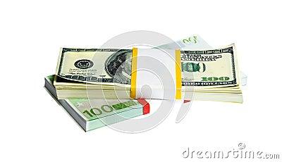Ten thousand U.S. dollars and EURO in a bundle