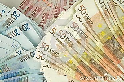 Ten twenty and fifty euros bills