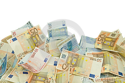 Ten twenty and fifty euros bills