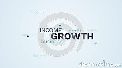 Tendência do aumento do progresso do lucro de negócio da renda do crescimento acima do fundo animado da nuvem da palavra da econo video estoque