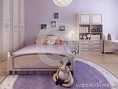 Camera da letto dell'adolescente con lo scaffale illustrazione di ...