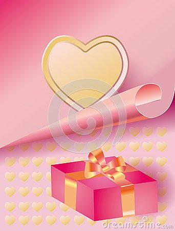 Tender background with a heart and gift