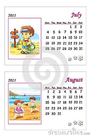 Tender calendar 2011 - July and August
