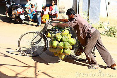 Tender Coconut Vendor in India Editorial Stock Image