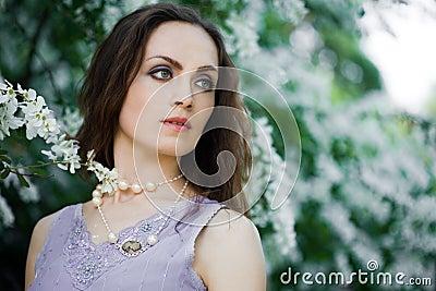 Tender girl in the garden