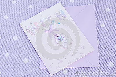 Tender postcard on lavender background