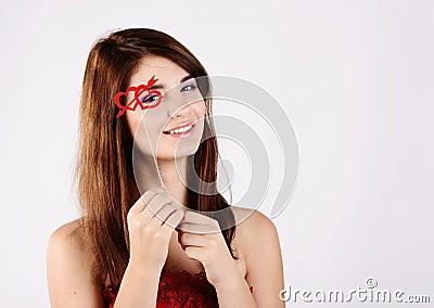 Tender teen girl with heart