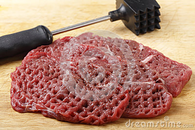 Tenderized raw minute steaks