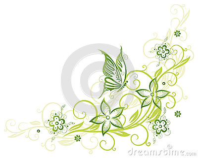Tendril, butterfly, flowers
