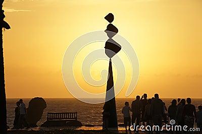 Tenerife Playa Las Americas sunset Editorial Stock Image