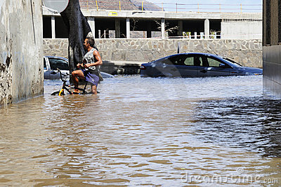 TENERIFE, SPAIN - AUGUST 29: Flooding Editorial Stock Photo