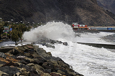 TENERIFE, SPAIN - AUGUST 29: Flooding Editorial Photography