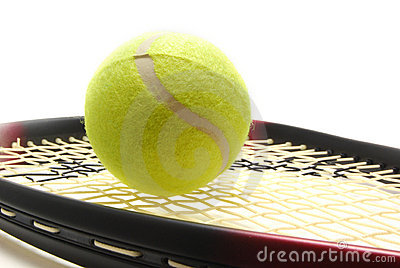 Tenis ball and racquet